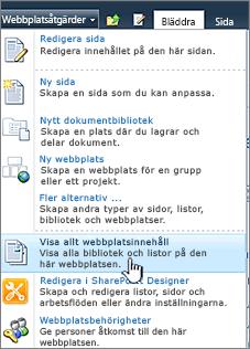 Visa allt webbplatsinnehåll på menyn Webbplatsåtgärder