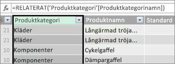 Beräknad kolumn för produktkategori