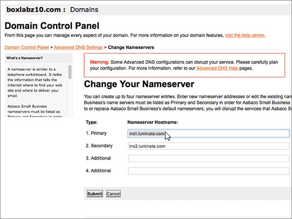 Ta bort namnservrarna på sidan Update Name Servers