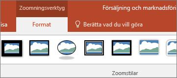 Visar zoomningsverktygen på fliken Format i menyfliksområdet i PowerPoint.