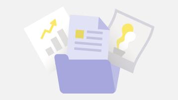Filer, dokument och bilder i en mapp