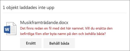 """Fel """"Filnamnet finns redan"""" i webbgränssnittet för OneDrive"""