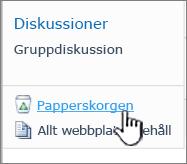 SharePoint 2010 Webbplats papperskorgslänk i Snabbstart