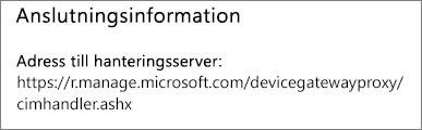 På sidan Hanteras av visas anslutningsinformationen för enhetshanterarens URL
