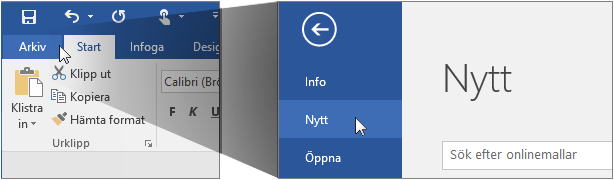 Användargränssnitt för att skapa ett nytt Word-dokument.