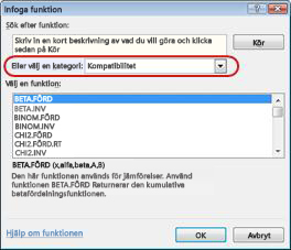Infoga funktion - dialogruta