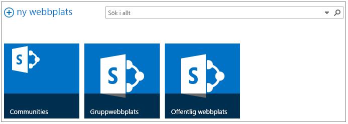 Exempel på webbplatssida med 3 marknadsförda webbplatser