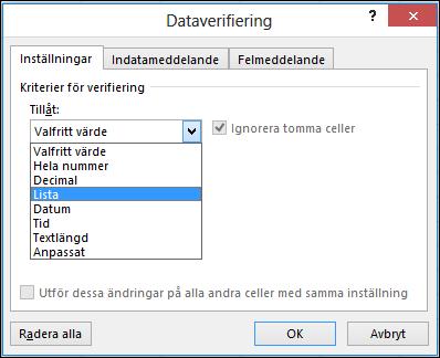 Fliken Inställningar i dialogrutan Dataverifiering