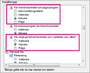 Tillåt att ActiveX-kontroller läses in och körs i Internet Explorer