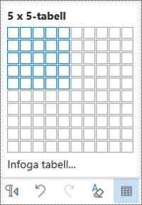 Tabell rutnät i Outlook på webben.