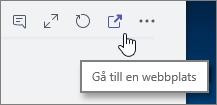 Skärmbild av Teams-kanalens meny Gå till webbplatsikonen