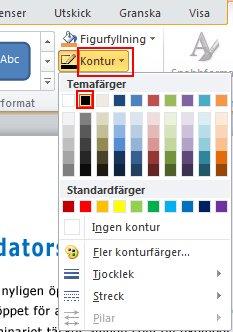 Om du vill ändra konturfärgen går du till fliken Format och i gruppen Figurformat väljer du Kontur.
