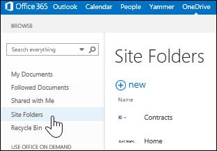 Markera webbplatsmappar för att hitta webbplatser som du följer och som innehåller dokumentbibliotek