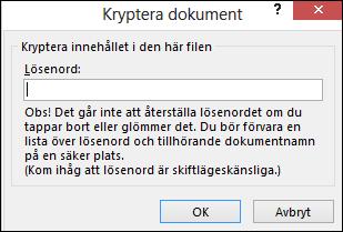 Dialogrutan Kryptera dokument