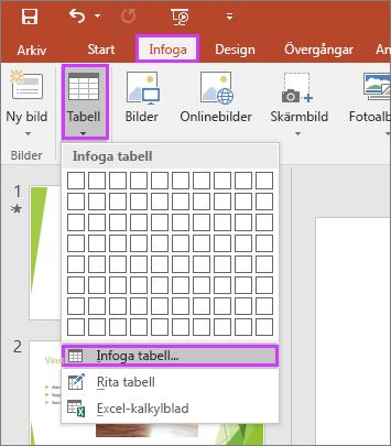 Visar alternativet Tabell på fliken Infoga i menyfliksområdet i PowerPoint