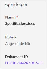 Dokument-ID som visas i informations fönstret