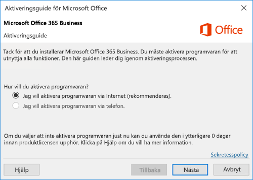 Visar aktiveringsguiden för Office 365 Business