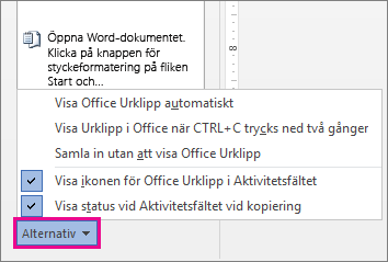 Alternativen för Urklipp i Word 2013