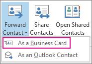 Vidarebefordra en kontakt som ett visitkort