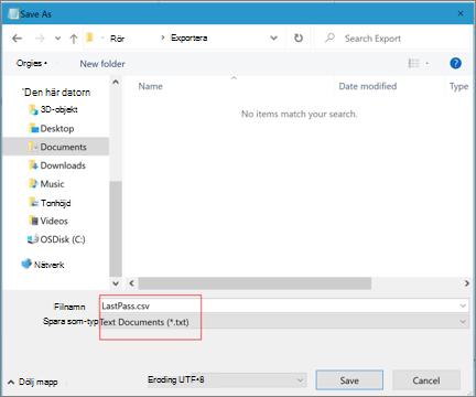 Spara CSV-fil för Skrivbords-LastPass