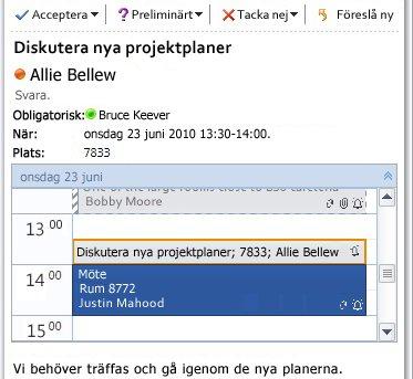 Snabbgranskning av kalender i ett meddelande med mötesförfrågan