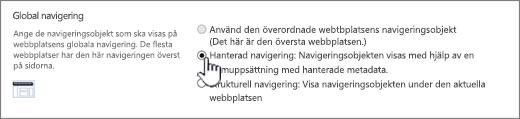 Inställningar för Global navigering med hanterad navigering markerad