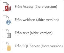 Hämta externa Data äldre guider