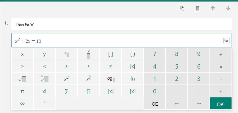Matematik tangentbord för matematiska formler