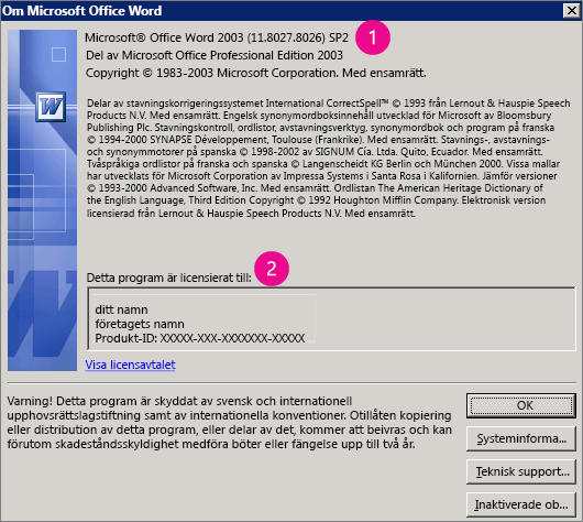 Fönstret Om Microsoft Office Word 2003