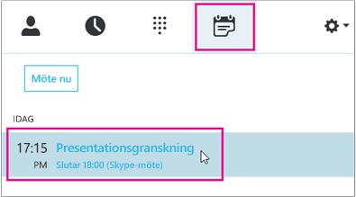 Ansluta till ett möte från fliken Skype för företag-möte
