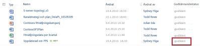 SharePoint-bibliotek sedan en väntande fil har fått statusen Godkänd