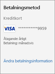 """Skärmbild som visar länken """"Ändra betalningsinformation""""."""