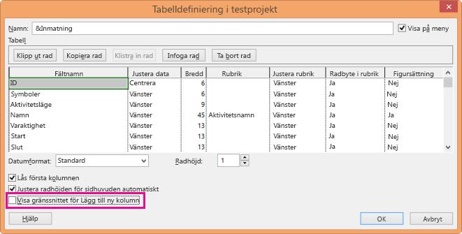Dialogrutan Definiera tabell