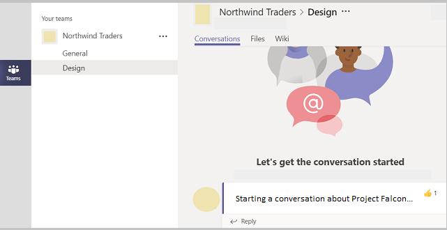 Ha en kanal konversation i Teams.