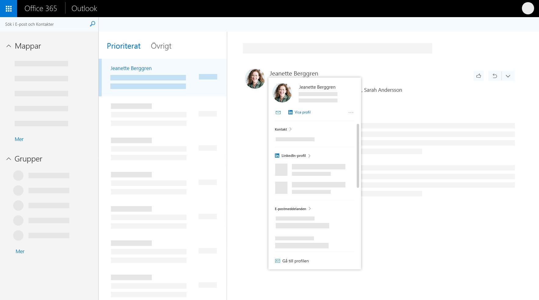 Profilkort i Outlook på webben