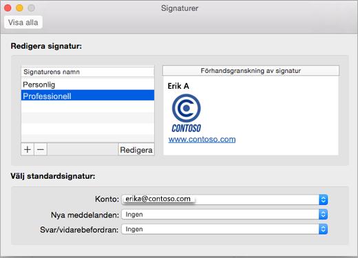 Sidan Signaturer i Outlook-inställningar