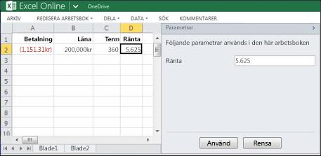 Använda en parameter i webbläsaren