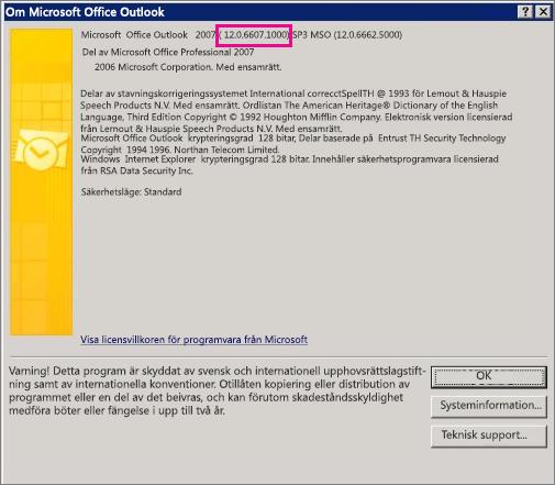 """Skärmbild som visar var versionsnumret för Outlook 2007 visas i dialogrutan """"Om Microsoft Office Outlook""""."""