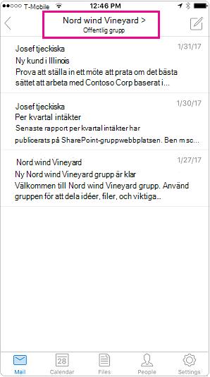 Outlook mobile konversationsvyn där huvudet markerat
