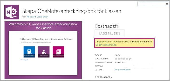 Skärmbild av sidan med programdetaljer, med länken Begär godkännande markerad