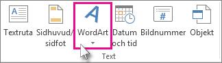 Lägg till WordArt genom att klicka