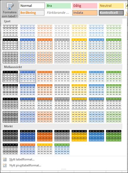 Excel-tabell – formatgalleri
