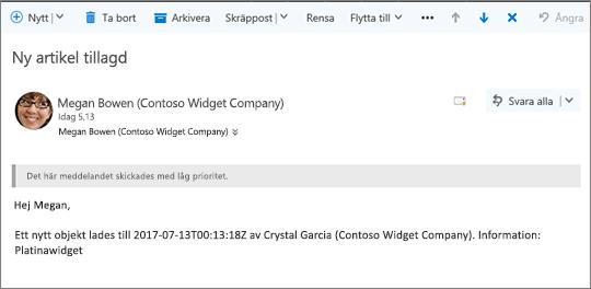 E-post som skickas av Microsoft Flow när ett objekt ändras