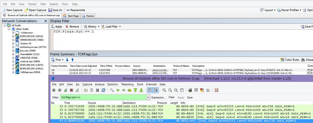 Filter i Netmon eller Wireshark för Syn-paket för båda verktygen: TCP.Flags.Syn == 1.