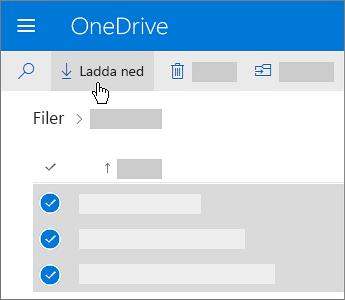 Skärmbild av hur du markerar OneDrive-filer och laddar ned dem.