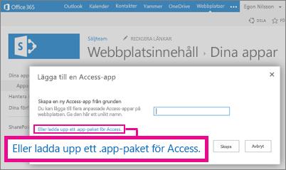 Överför ett Access-programpaket till sidan Lägg till ett program på en SharePoint-webbplats