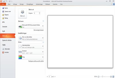 Fliken Arkiv i PowerPoint 2010, med visning av Skriv ut.