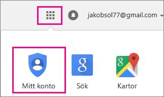 Välj programknappen längst upp till höger och sedan ikonen Mitt konto.