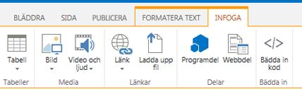 Skärmdump på fliken Infoga som innehåller knappar för infoga tabeller, videoklipp, grafik och länkar till dina webbsidor