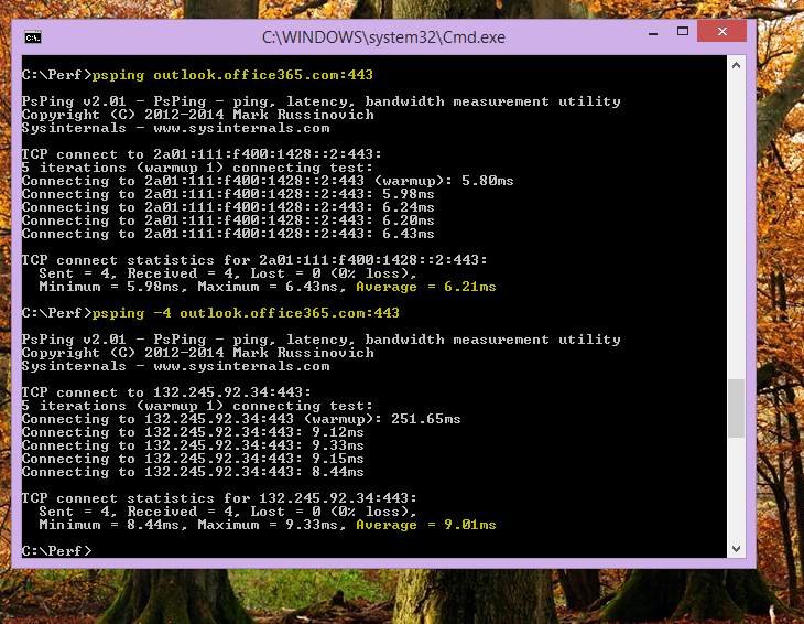 Hitta din IP-adress med hjälp av PSPing på kommandoraden på klientdatorn.